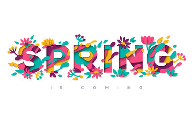 Spring typography design with paper cut shapes