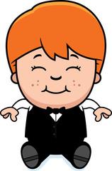 Cartoon Little Waiter Sitting