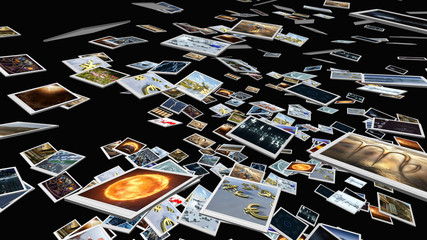 Polaroid  image sheets falling down. 3D rendering