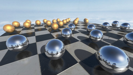 Surreal oprganic spheres on a checkerboard. 3D rendering