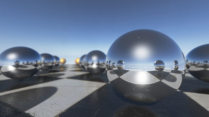 Close up of surreal oprganic spheres on a checkerboard. 3D rendering