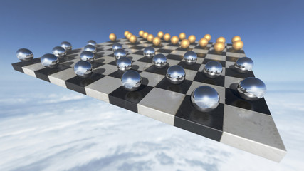 Surreal oprganic spheres on a chess plate. 3D rendering