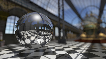 Surreal sphere in steampunk victorian interior. 3D rendering