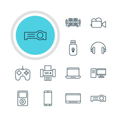 Vector Illustration Of 12 Technology Icons. Editable Pack Of Media Controller, Joypad, Floodlight And Other Elements.