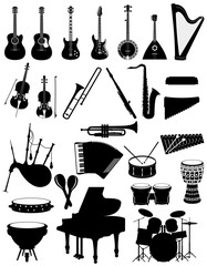 musical instruments set icons black silhouette outline stock vector illustration