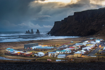 Vik town Iceland, view from Vik i Myrdal Church on the hill side.Beautiful small quiet town in Iceland.