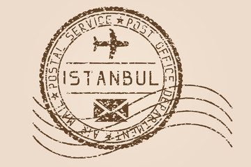 Istanbul mail stamp. Old faded retro styled impress