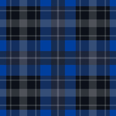 seamless blue, black tartan - white stripes