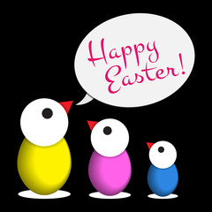 Easter greeting - three colored chicken eggs, text
