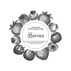 Decorative frame with berries. Can be label and banner for natural or organic fruit product and health care goods.