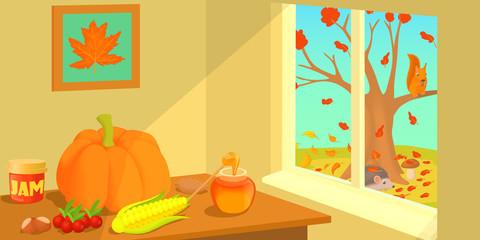 Autumn horizontal banner, cartoon style