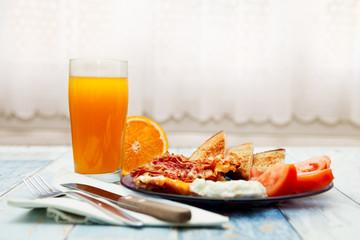 Served homemade breakfast on plate