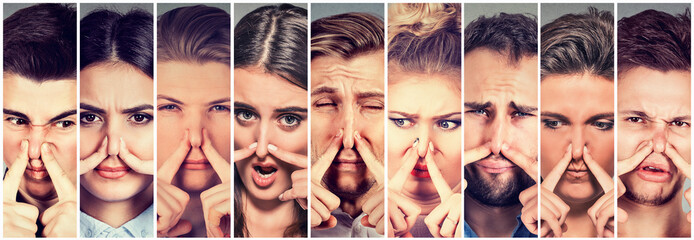 Group of people pinching nose with fingers something stinks bad smell