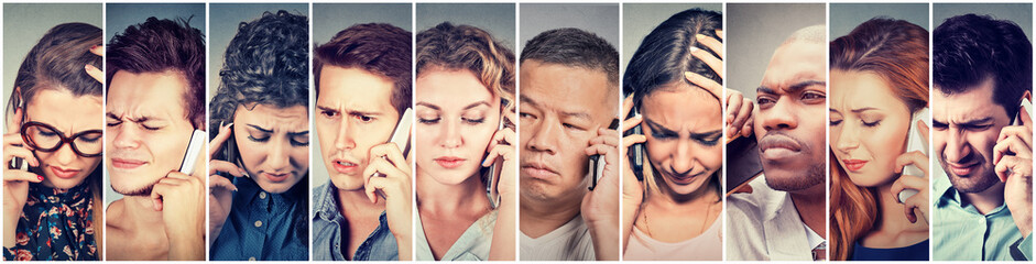 Multicultural group of sad people men and women talking on mobile phone