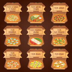 Set of italian Pizza in boxes. 9 item. Different sorts.