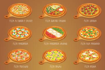 Set of italian Pizza on cutting board. 9 item. Different sorts.