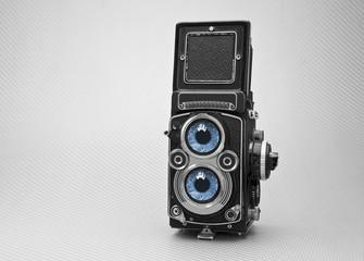 camara fotográfica com dois olhos