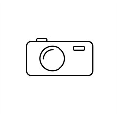 thin line photo camera icon on white background