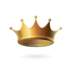 Gold crown on white background. Isolated vector illustration