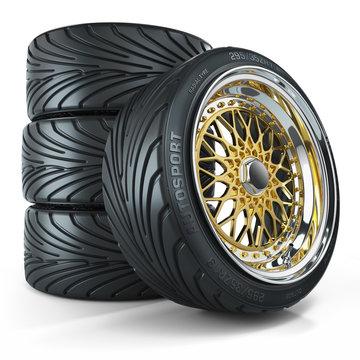 Set of custom wheels, chromed rims