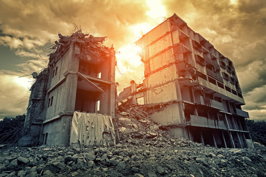 Post-apocalyptic destroyed building in city