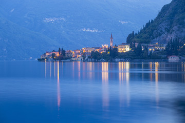 Varenna's town reflexes at blue hour - Como lake - Lombardy