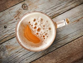 beer mug on wooden table