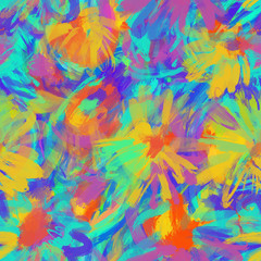 seamless abstract spotted pattern. native folk colorization technique on fabrics. Fluorescent paint strokes colorful background. Abstract vector background with neon splashes