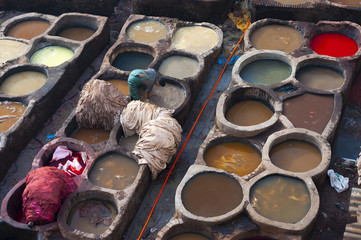 Fes, Morocco. Typical leather tanneries.