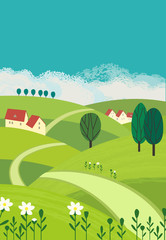 Country landscape. Freehand drawn cartoon outdoors style. Farm houses, winding road on meadows, green fields. Rural community. Sunny day, blue sky, hills. Vector village countryside scene background