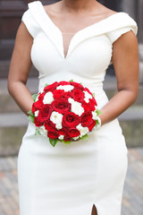 Red and white roses wedding bouquet