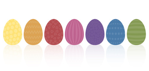 Vintage easter eggs - discreet muted earthly colors and different old fashioned simple patterns. Isolated vector illustration on white background.