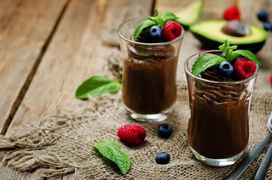 Raw vegan chocolate avocado pudding