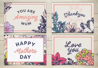 4 Floral Mother's Day Card Layouts