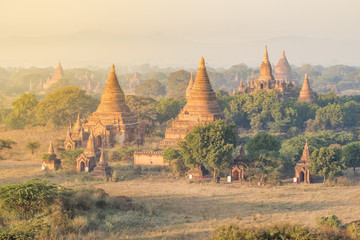 Bagan, Mandalay region, Myanmar (Burma). Pagodas and temples at sunrise.