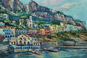 View of Capri port Piccola Marina from the boat.