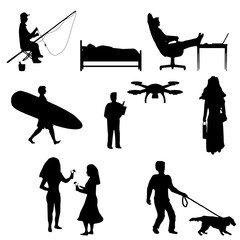 Silhouettes depicting active and passive recreation of people. Black and white, Isolated.
