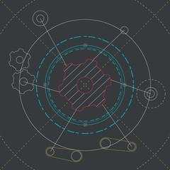 Vector engineering background.  Technical plan .  Blueprint of mechanism.