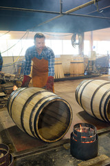 Cooper shaping barrel using heat