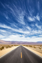 Endless desert road, Death Valley, California, USA.