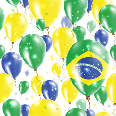 Brazil Independence Day Seamless Pattern. Flying Rubber Balloons in Colors of the Brazilian Flag. Happy Brazil Day Patriotic Card with Balloons, Stars and Sparkles.