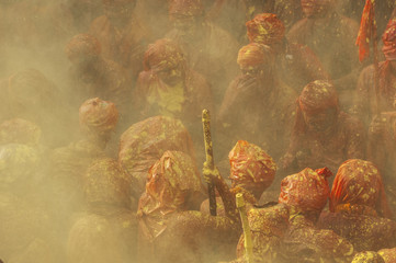 Mathura, Uttar Pradesh, India, Asia.  Holi festival of Colors.