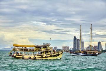 Thai boat and sunset at Pattaya Thailand