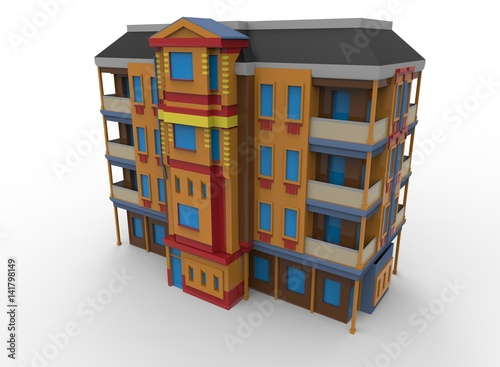 3d illustration of cartoon house  white background isolated