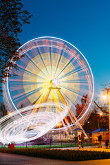 Rotating In Motion Effect Illuminated Attraction Ferris Wheel