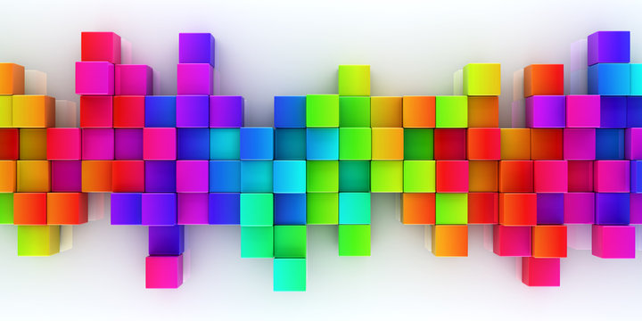 Rainbow of colorful blocks abstract background - 3d render