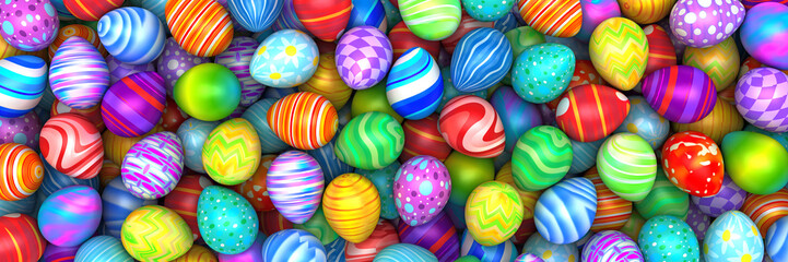 Pile Of Birght And Colorful Easter Eggs Render