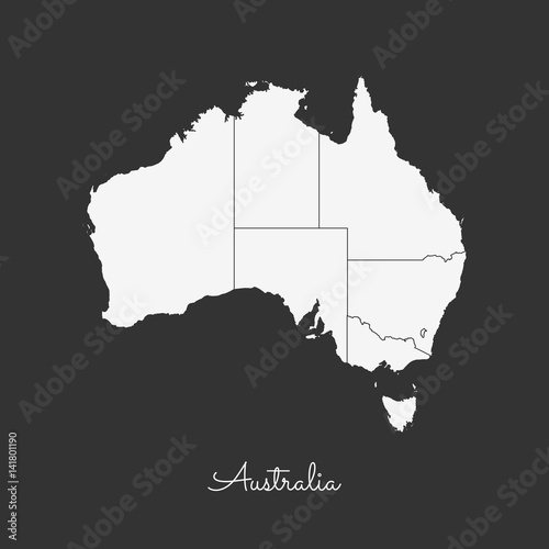 Australia Map Grey.Australia Region Map White Outline On Grey Background Detailed Map