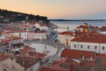 Europe, Slovenia, Istria, Piran. View on Tartini Square and the city center at dusk