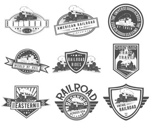 Vector vintage steam train set for logo templates, badges, emblems, promotion, isolated on white background